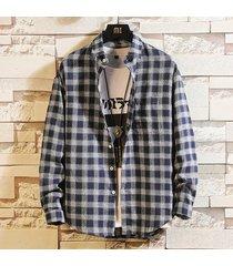 camicia girocollo in cotone casual girocollo slim fit manica lunga camicia per uomo