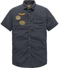 short sleeve shirt cotton slub fab dark sapphire