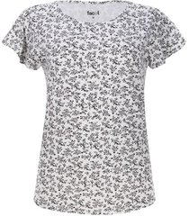 camiseta c/r flores color blanco, talla l