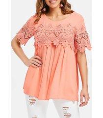 crochet panel tunic blouse