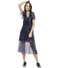 vestido desigual larga azul - calce slim fit