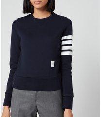 thom browne women's classic sweatshirt in classic loop back - navy - it 40/uk 8