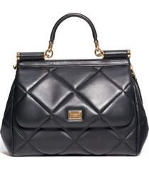 dolce & gabbana medium sicily matelasse leather satchel - black