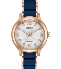 drive from citizen eco-drive women's rose gold-tone stainless steel & blue silicone bracelet watch 36mm