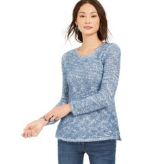 style & co marled eyelash-texture sweater, created for macy's