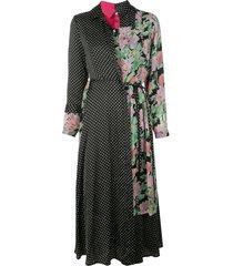 junya watanabe patchwork midi shirt dress - multicolour