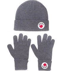 dsquared2 grey mélange hat+gloves knit set