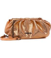bolsa couro costtano metalizada salmã£o - cobre - feminino - dafiti