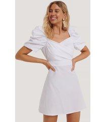 na-kd boho puff shoulder a-line dress - white