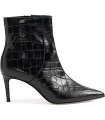bette bootie - 11 black crocodile effect leather