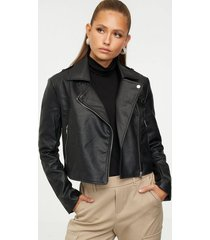missguided ultimate boxy faux leather jacket skinnjackor