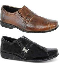 kit 2 pares leoppé sapato social infantil em couro legítimo - masculino