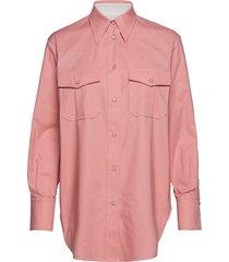 cotton western shirt overhemd met lange mouwen roze calvin klein