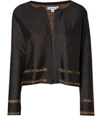 casaco dudalina manga longa dupla face detalhe listra barra feminino (preto dupla face, gg)