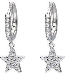 orecchini a cerchio con stellina pendente in argento e zirconi per donna