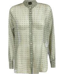 aspesi patterned lace shirt