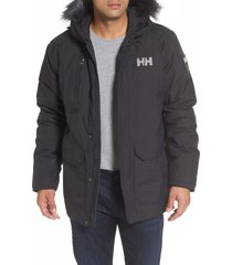 men's helly hansen svalbard waterproof parka with faux fur trim, size large - none