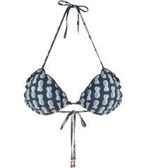 track & field abacaxi printed bikini top - blue