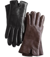 premium leather shearling-lined gloves / double-faced shearling gloves, brown, large