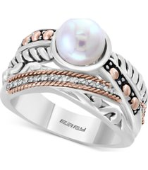 balissima by effy cultured freshwater pearl (8mm) & diamond accent ring in sterling silver & 18k rose gold