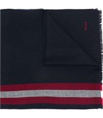 bally striped knit scarf - blue