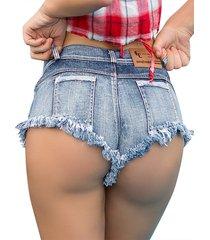 shorts vaqueros azules de cintura baja con dobladillo sin rematar