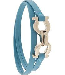 salvatore ferragamo gancini canvas rope bracelet - blue