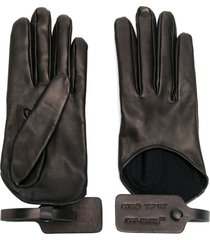 off-white tag leather gloves - black