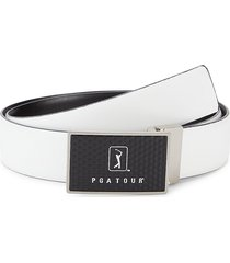 pga tour men's logo plaque leather belt - white - size 42