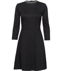3/4 sleeve jersey dress kort klänning svart calvin klein
