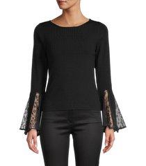 avantlook women's lacy bell-sleeve knit top - black - size s