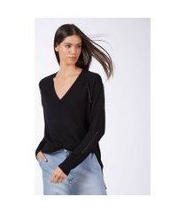 blua de tricot decote v mini argolas preto