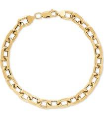 unisex large oval link bracelet in 10k gold