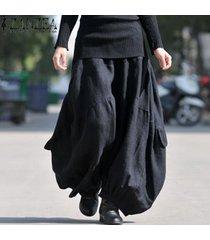 zanzea sólido largo ancho pierna holgada holgada pantalones cargo pantalones mujer algodón lino cintura alta elástica moda linterna pantalon negro -negro