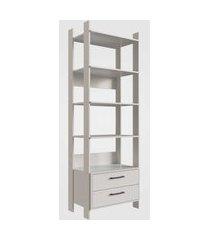 closet aberto com gavetas e prateleiras off white  completa móveis