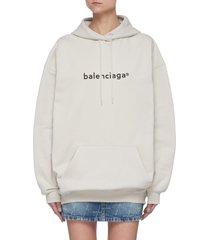 logo print cotton drawstring hoodie