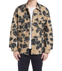 men's closed floral field jacket, size x-large r - brown