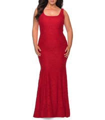 plus size women's la femme beaded lace trumpet gown, size 14w - red