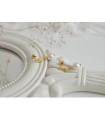 kolczyki złocone listki z perłami swarovskiego