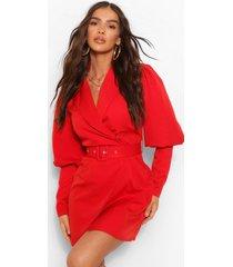 geweven blazer jurk met pofmouwen, berry