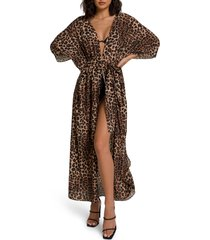 women's good american goddess tie waist robe, size 0-4 - brown