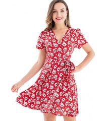 vestido flores lazo rojo nicopoly