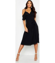 chiffon cold shoulder wrap midi skater dress, black