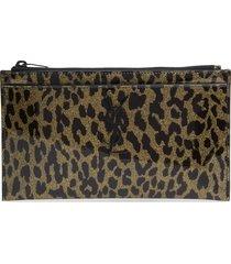 saint laurent metallic leopard print leather pouch -