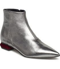pointed block heel shoes boots ankle boots ankle boots flat heel silver apair