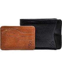 carteira com porta-cartão hendy bag couro preto e caramelo