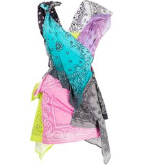 natasha zinko bandana knot detail dress - blue