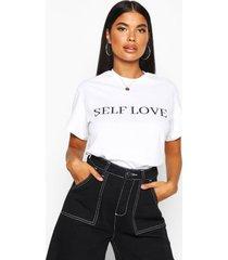 petite 'self love' t-shirt met tekst, white
