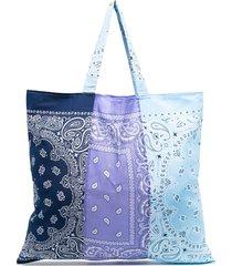arizona love bandana-print colour-block tote - purple