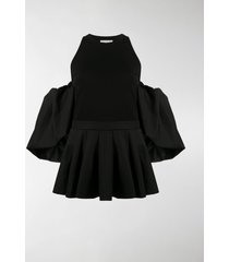 alexander mcqueen cold-shoulder peplum blouse